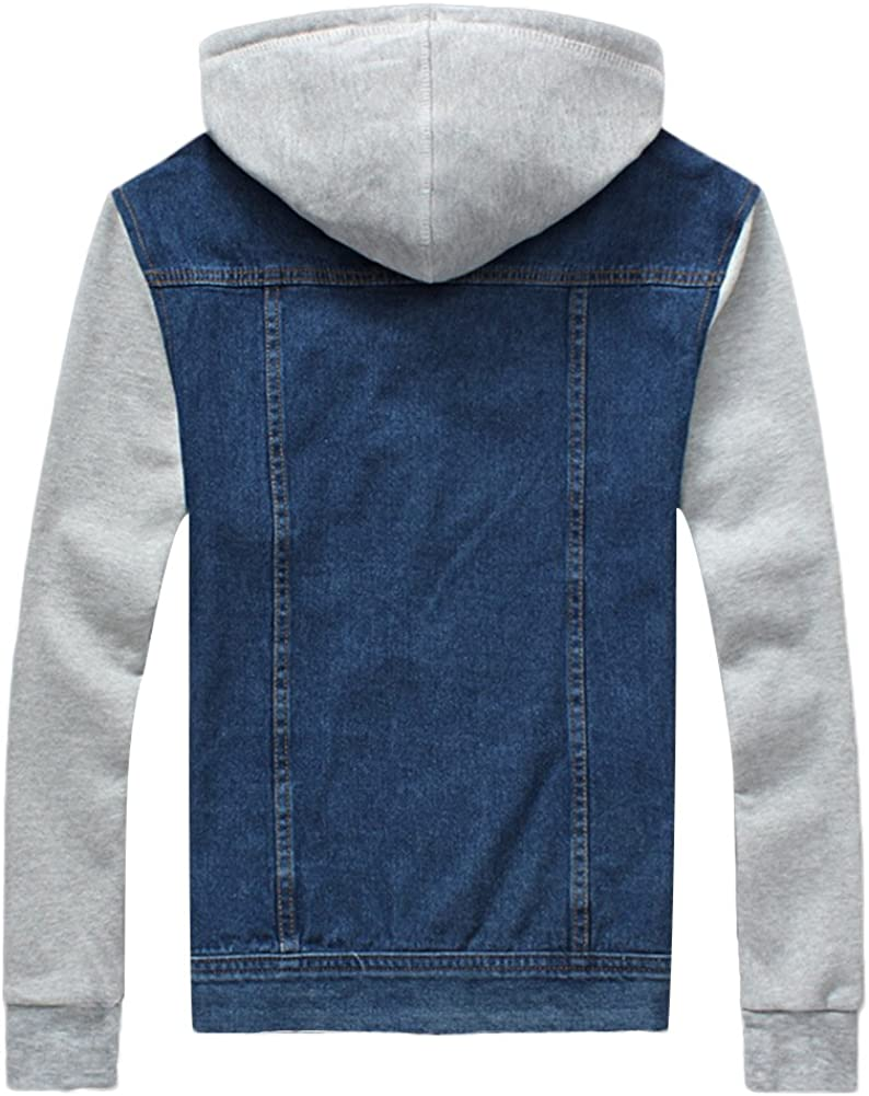CHICKLE Men's Casual Long Sleeve Removable Hoodie Denim Bomber Jacket Light Blue MGtZL