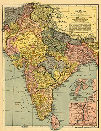 Art Oyster Vintage Map of India, 1903-33