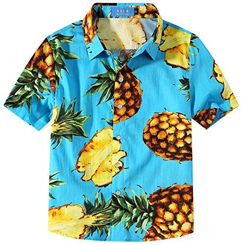 SSLR Big Boy's Pineapple Holiday Short Sleeve Aloha Hawaiian Shirts (X-Large(18-20), Sky Blue)