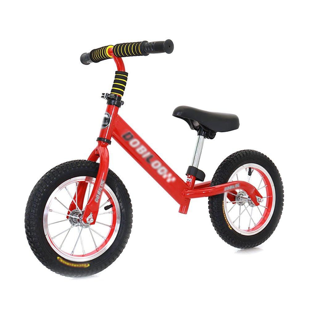 子供のスクーターペダルなしバギー子供ダブルホイール自転車ベビースクーターバランス車のインフレータブル子供スクーター2ラウンドウォーカー12インチ2歳から6歳 B07F58P9T2 Red Red