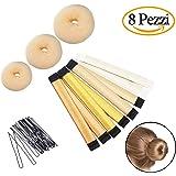 Chignon facile per capelli, Chignon Shaper Set, 3x Chignon Ciambella (Grandi, Medie e Piccole), 4x Magia Chignon & 1 sacchetto capelli pin