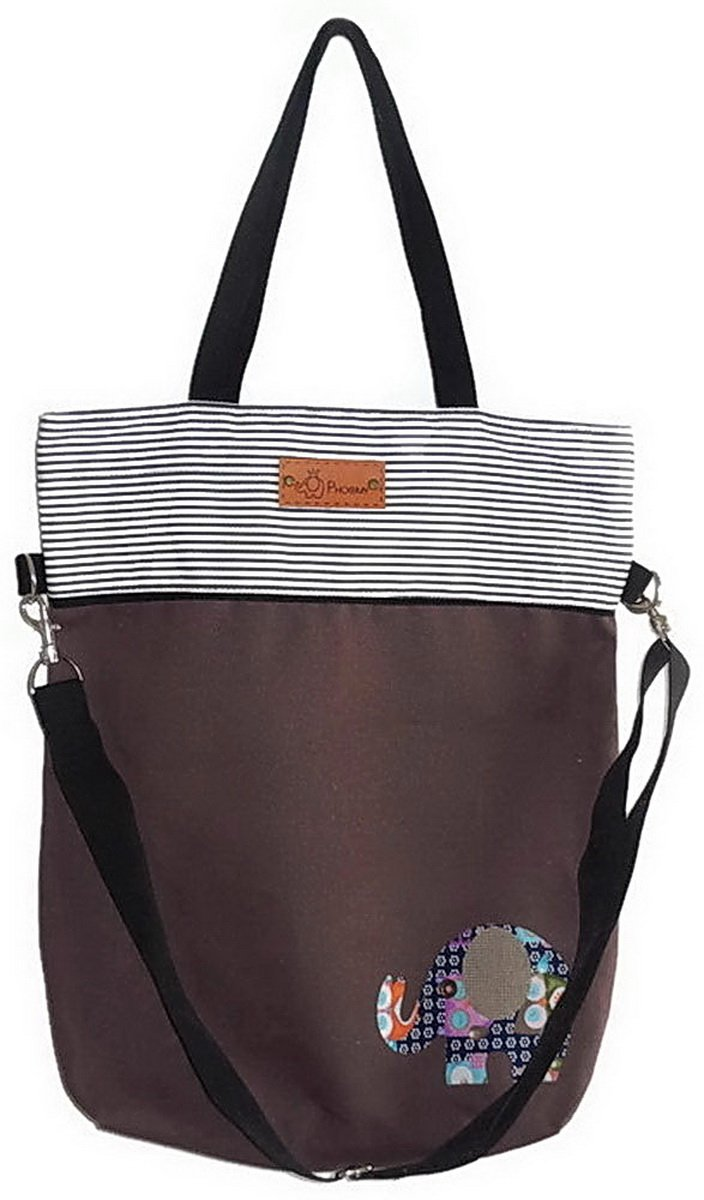 Two-Tone Canvas Tote Shoulder Bag Crossbody Purse Messenger Bag - Brown and Stripe with Elephant Applique Design