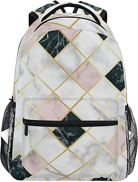 Pink White Marble Stone Texture Travel Laptop Backpack,Water