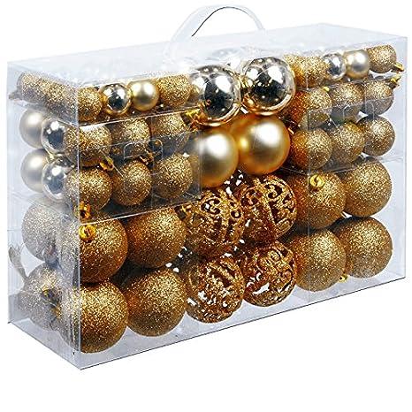 Christmas Gifts 100 x Weihnachtskugeln, Plastik, Gold, 12.1 x 35.7 x 23.4 cm