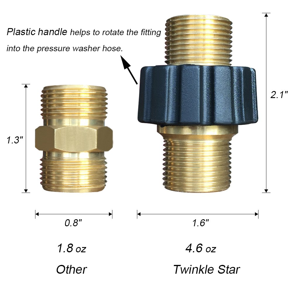 Compatible Sun Joe TWIS292 Twinkle Star Pressure Washer Adapter Set Quick Connect Kit Metric M22 15mm