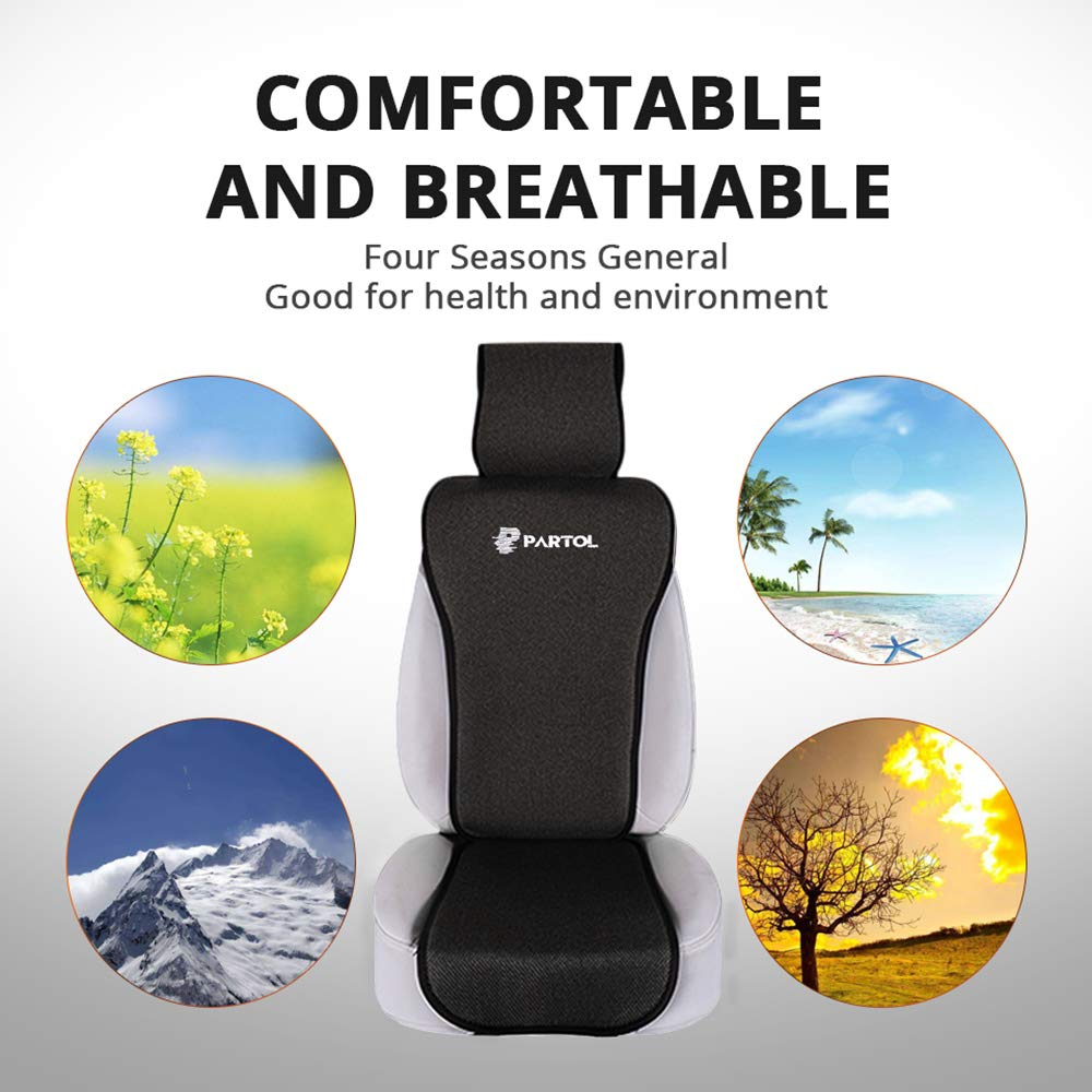 Partol Car Seat Cover Black Front Seat Cover Pad Universal Car Seat Protector Automobile Seat Cushion Pad Mat Linen Fabric Four Seasons for Auto Front Rear Back Seat