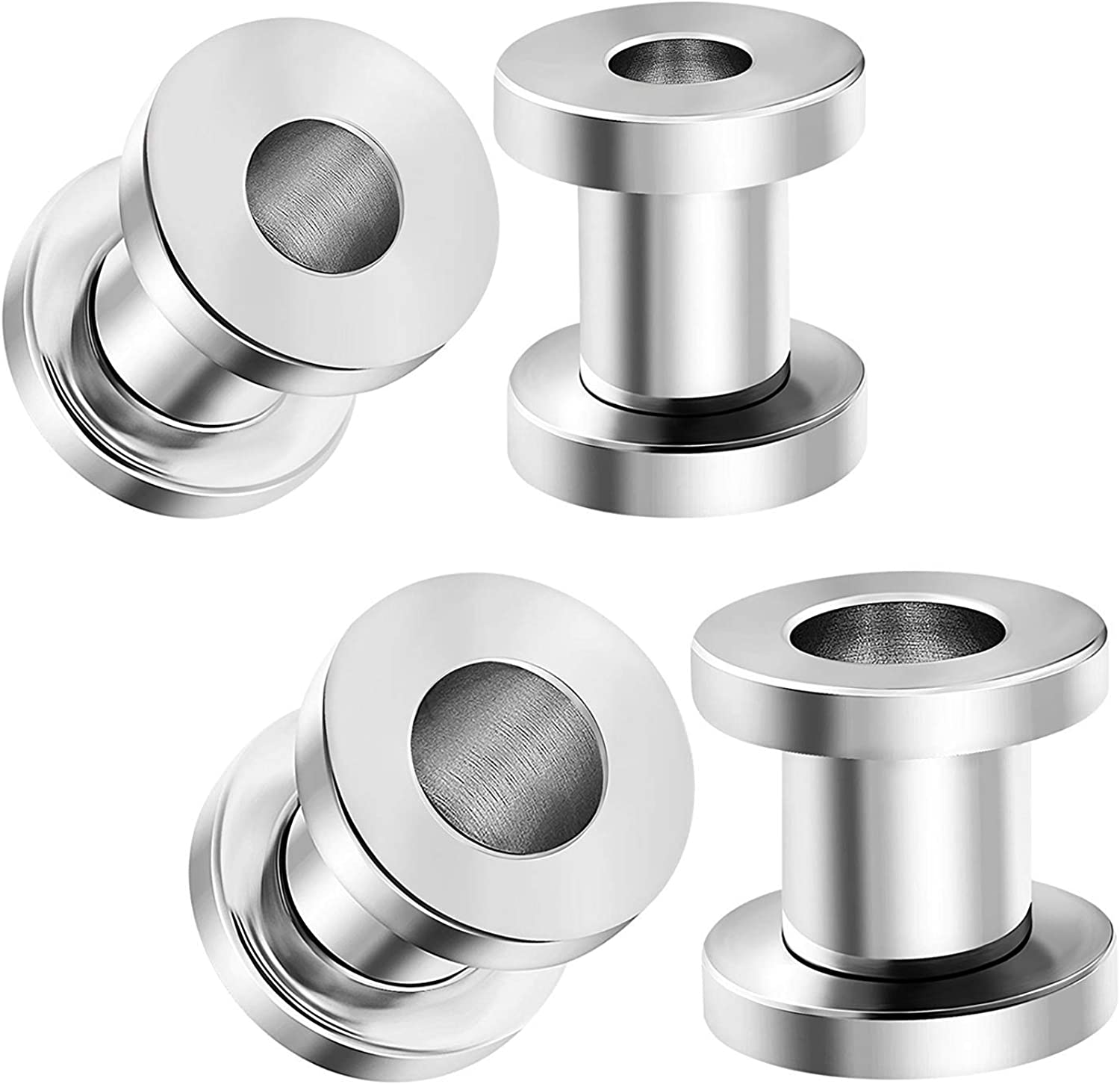 CABBE KALLO 18PCS Ear Tunnels Stretching Kit Stainless Steel Screw Fit Gauge Plugs Set 14G-00G Double Flared Expander