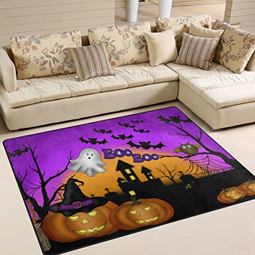 Naanle Winter Holiday Area Rug 5'x7', Halloween Owl Ghost Pumpkin Polyester Area Rug Mat for Living Dining Dorm Room Bedroom Home Decorative -