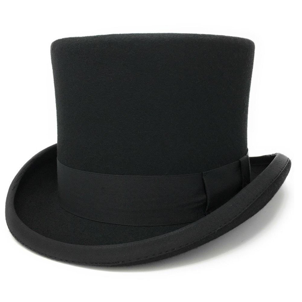 Cotswold Country Hats Black Traditional Wool Felt Top Hat. Satin Lined 'Countrywear' By S, M, L, XL Cotsw101