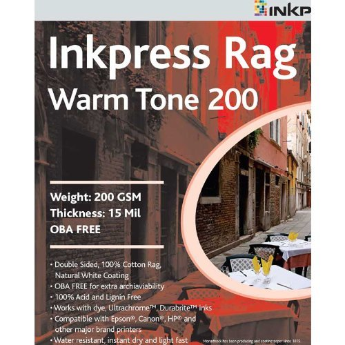 (Inkpress Rag, Warm Tone Double Sided, Cream White Matte Inkjet Paper, 15 mil., 200gsm, 5x7, 50 Sheets by Inkpress)