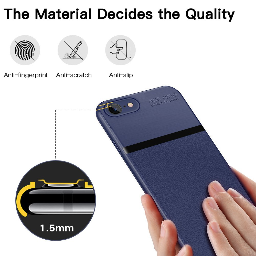 iPhone 8 Case, iPhone 7 Case, JASBON Soft TPU Brushed Carbon Fiber Phone Case Ultra Thin Breathable Cover Shockproof Protective Case for Apple iPhone 8/7-Dark Blue