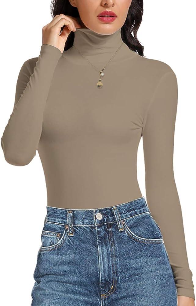STARBILD Camisa de Manga Larga para Mujer Top de Cuello Alto Jersey Ligero Blusas de túnica Delgadas S-XXL Black XX-Large: Amazon.es: Ropa y accesorios
