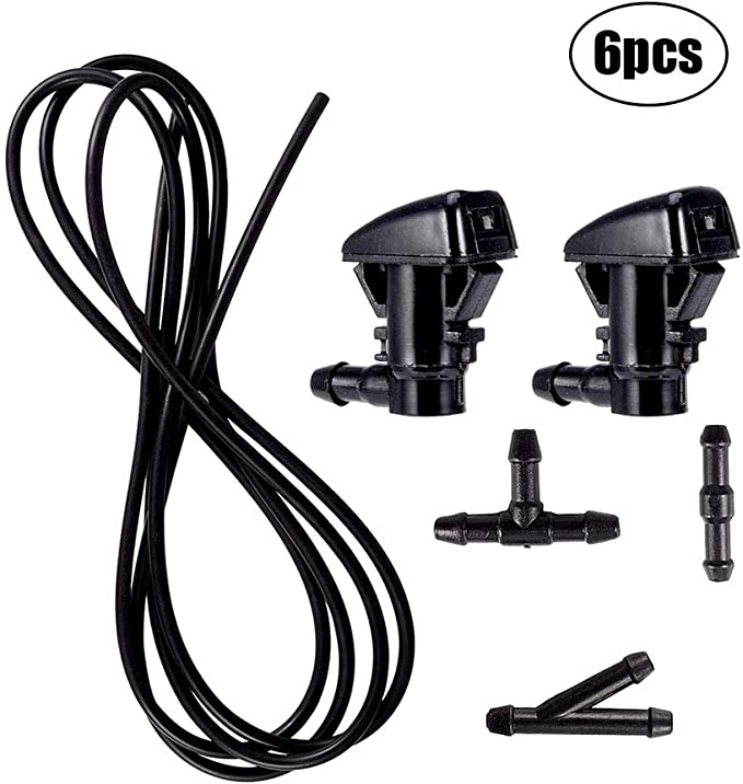 Replace OEM # 25823360 AHSN 2Pcs Windshield Washer Nozzles Spray for Chevrolet Traverse Buick Enclave GMC Acadia Saturn Outlook and 3 Meters Fluid Hose with 3 Pcs Connectors