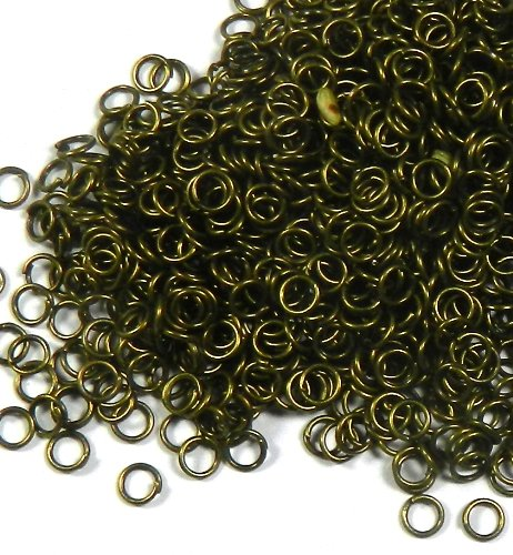 Rockin Beads Brand, 1000 Jump Rings , Antiqued Gold-plated Brass, 5mm Round, Approx 22 Gauge Open Jewelry Connectors Chain Links Sold Per Pkg of 1000