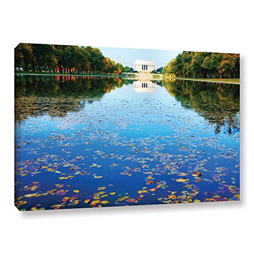 ArtWall Steve Ainsworth's Lincoln Memorial and Reflecting Pool I Gallery Wrapped Canvas, 12 x 18