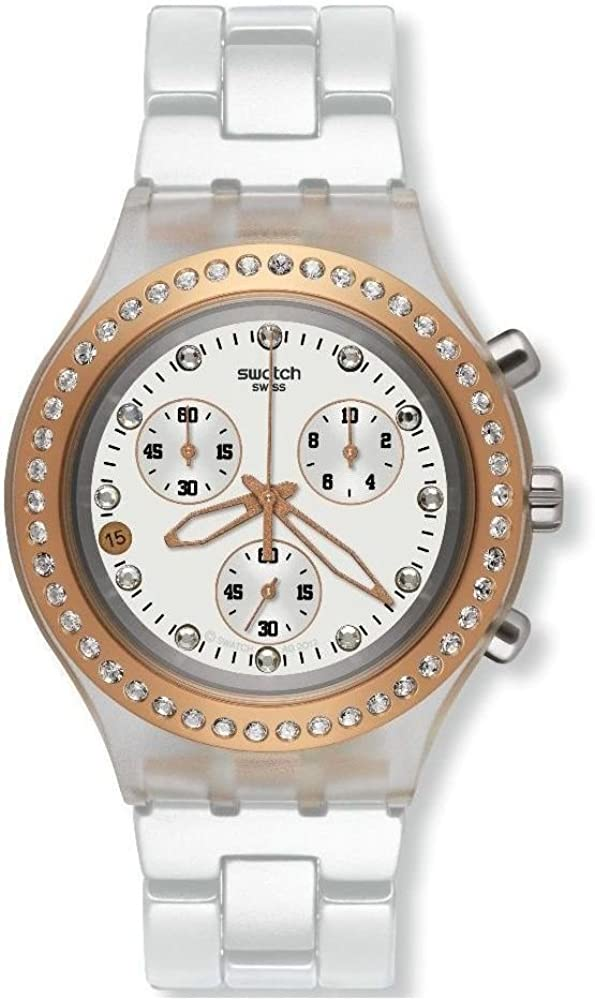 Swatch Reloj cronógrafo para Unisex-Adulto de Cuarzo con Correa en Metal SVCK4067AG_White