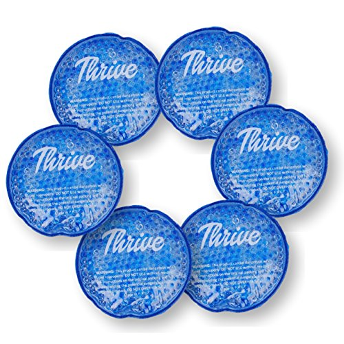 Round Hot & Cold Packs (6 PACK) - Heat or Ice Therapy - Small Flexible reusable gel beads with cloth fabric backing - Great For: Wisdom Teeth, Breastfeeding, Tired Eyes, Face, Headaches, Sinus Relief from Thrive