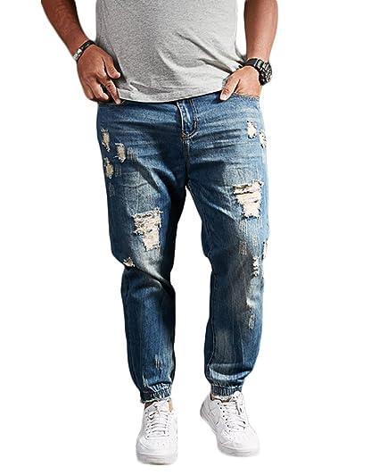 2bfb5b3e918 Homme Stretch Lâche Fit Trous Jeans Grande taille Jeans gras lavés Pantalon  droit en jean Bleu