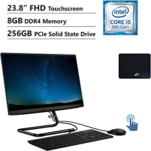 "Lenovo IdeaCentre All-in-One Desktop 23.8"" FHD Touchscreen, Intel i5-9400T, 8GB DDR4 Memory, 256GB PCIe Solid State Drive, HDMI, Multi-Card Reader, WiFi, DVD-RW, Wired Keyboard&Mouse, Win10"