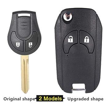 Beefun - Carcasa de Repuesto para Llave de Coche con 2 Botones para Nissan Cube Micra Note Qashqai Juke Original