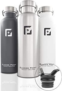 Glacier Point Vacuum Insulated Stainless Steel Water Bottle 25oz|17oz Double Walled Construction Premium Powder Coat Two Lids