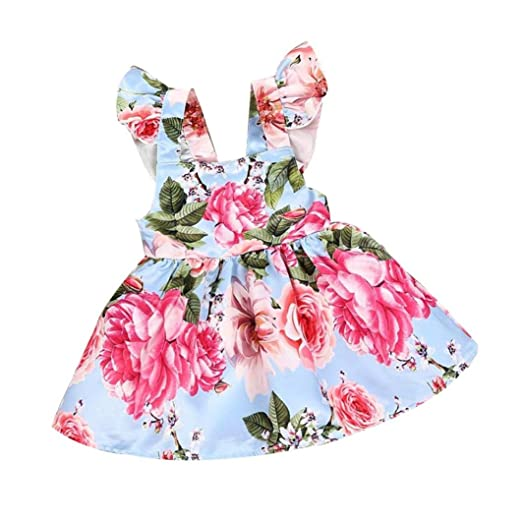 b122b91e Vicbovo Baby Girl Dresses, Adorable Summer Sleeveless Dress Floral Princess  Party Beach Dress Clothes for