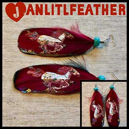 Hand Painted Feather Earrings ()