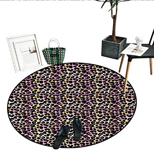 - Leopard Print Round Small Door Mat Abstract Wild Exotic Animal Skin Pattern in Artistic Style with Vibrant Color Living Dining Room Bedroom Hallway Office Carpet (24