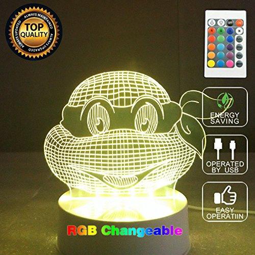 3D Optical Illusion Ninja Turtles Panel Model Lighting Night 7 Color Change Usb Touch Button Led Desk Table Light Lamp