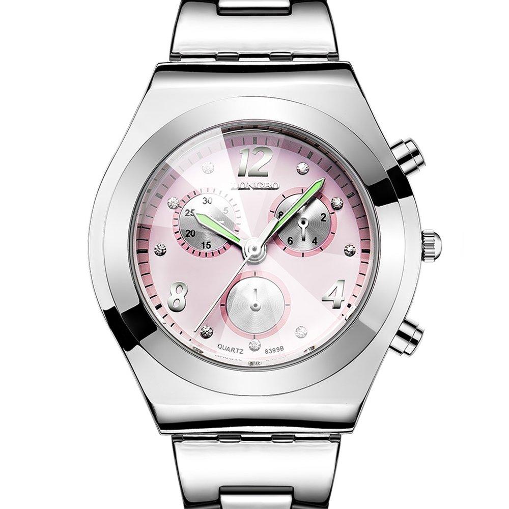 Women Steel Watch, OL Wristwatch with Luminous Needle, Convex Glass Dial, Business Female Dress Clock (Pink)