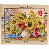 RTO Poppies & Sunflowers D'Art Needlepoint Printed Tapestry Canvas, 60 x 50cm