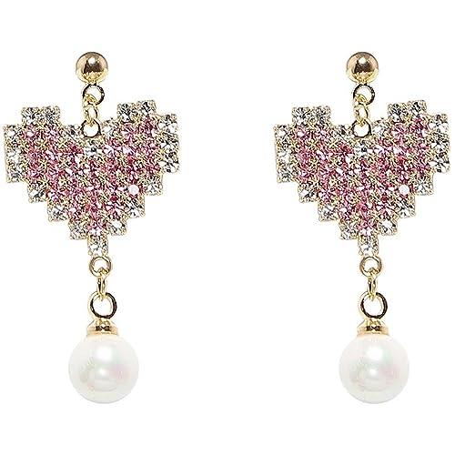 Dana Carrie Niña rosa amor aretes con forma de corazón simple temperamento Pendientes perla pendientes cortos