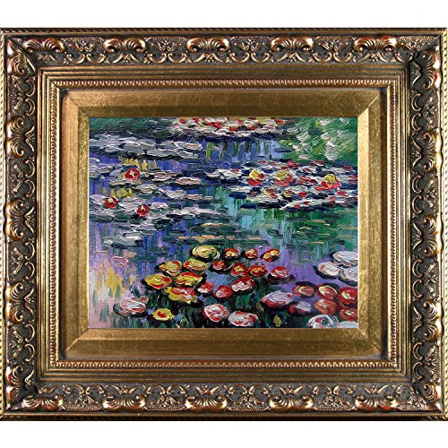 overstockart-monet-water-lilies-artwork-with-baroque-antiqued-wood-gold-frame