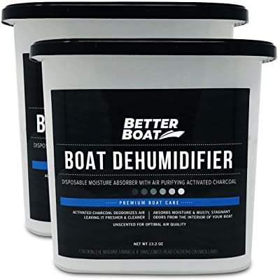 .com - 2 Pack Boat Dehumidifier Moisture Absorber and Charcoal Deodorizer Remove Damp Musty Smell | Basement Closet Home RV or Boating -