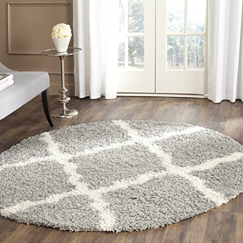 Safavieh Dallas Shag Collection SGD257G Grey and Ivory Round Area Rug (6' Diameter) Safavieh Shag Collection