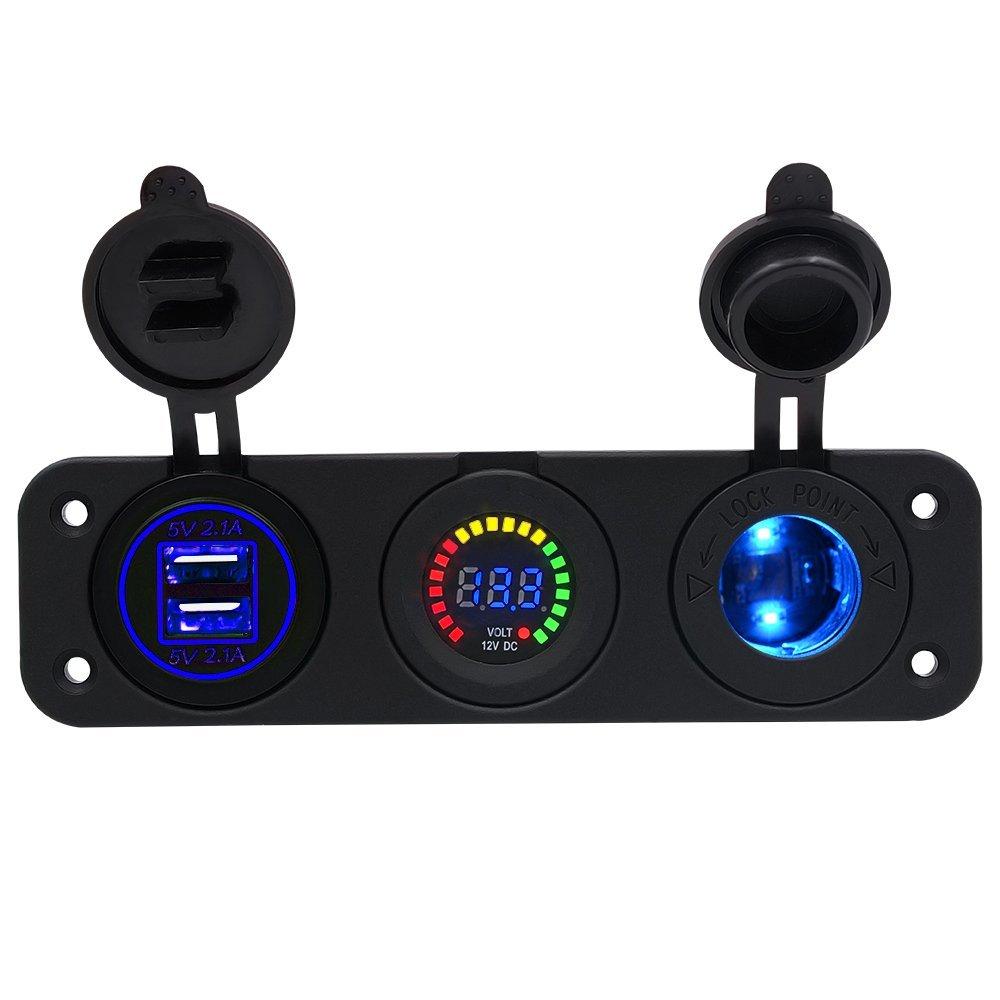 TurnRaise Car Motorcycle Triple 4.1a USB Charger + LED Voltmeter + 12V/24V Cigarette Lighter Socket Three Hole Panel for iPhone Samsung Tablet (Charger+Voltmeter+Cigarette Lighter) by Turnraise