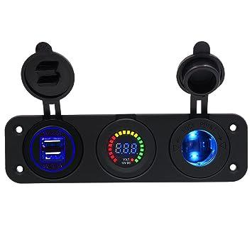 Kriogor Auto Motorrad Triple 4.1a USB-Ladeger/ät 12V//24V Zigarettenanz/ünder Buchsenfeld drei Loch f/ür iPhone Samsung Tablet LED Voltmeter