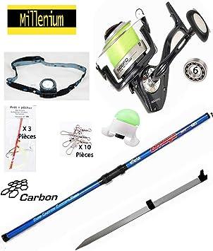 Millenium Pack de Pesca de Surf Completo, caña de Carbono 4M20 + Carrete 6 rodamientos + Palo Surf + Accesorios: Amazon.es: Deportes y aire libre