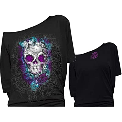 Lethal Threat LT20367XL Women's Shirt (D.O.D Skull Butterflies Off The Shoulder)(Black, X-Large), 1 Pack: Automotive
