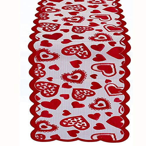Jblcc Valentine's Day Table Runner - 13 x 72Inch Lace Embroidery Table Runner for Wedding,Valentines Party Decorations