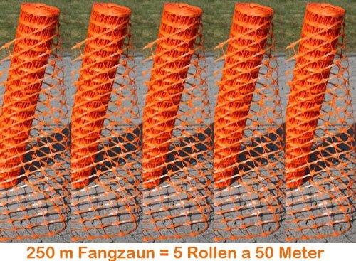 250 m Fangzaun orange, Absperrnetz, Maschenzaun, Bauzaun auf Rolle Kunststoff 5 x 50 Meter, extrem Reissfest