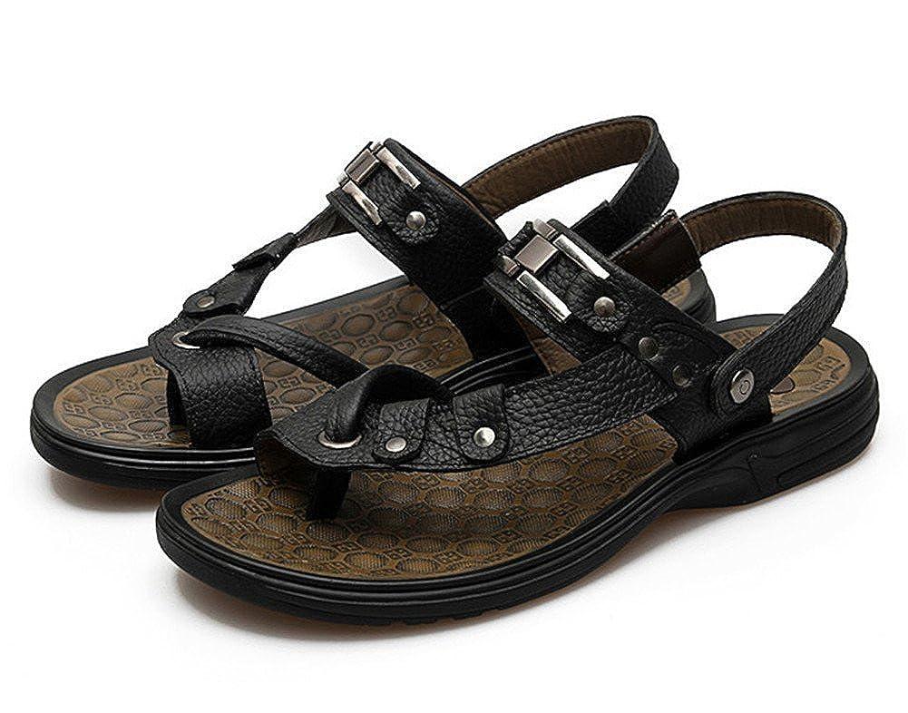 Insun Herren 's Leder Flop Strap Thong Flip Flop Leder Schwarz 4b958b