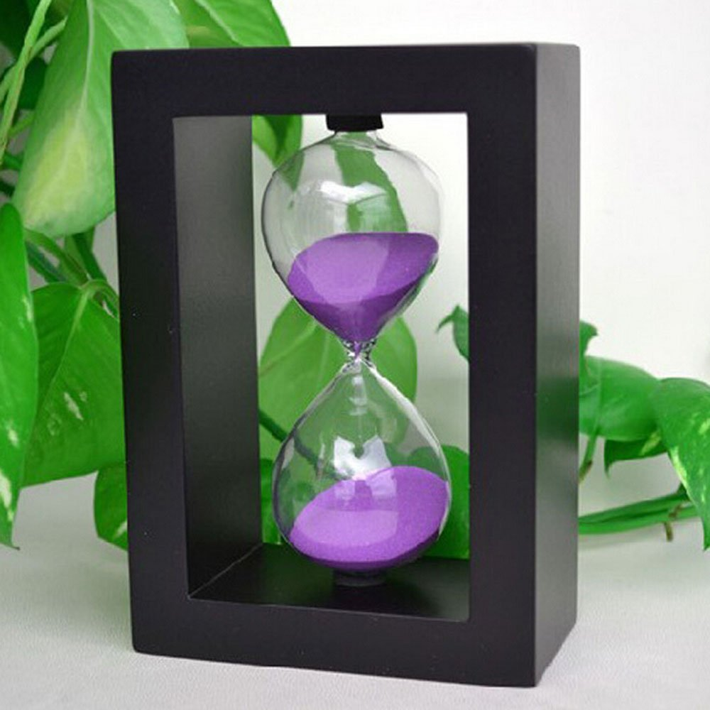 Edeal-YN Fashion Home Decor ,Office, School and Decorative Use Wood frame 45 Minute Hourglass Glass Sand Timer Sand clock timer for Kitchen (Black Frame Purple Sand)