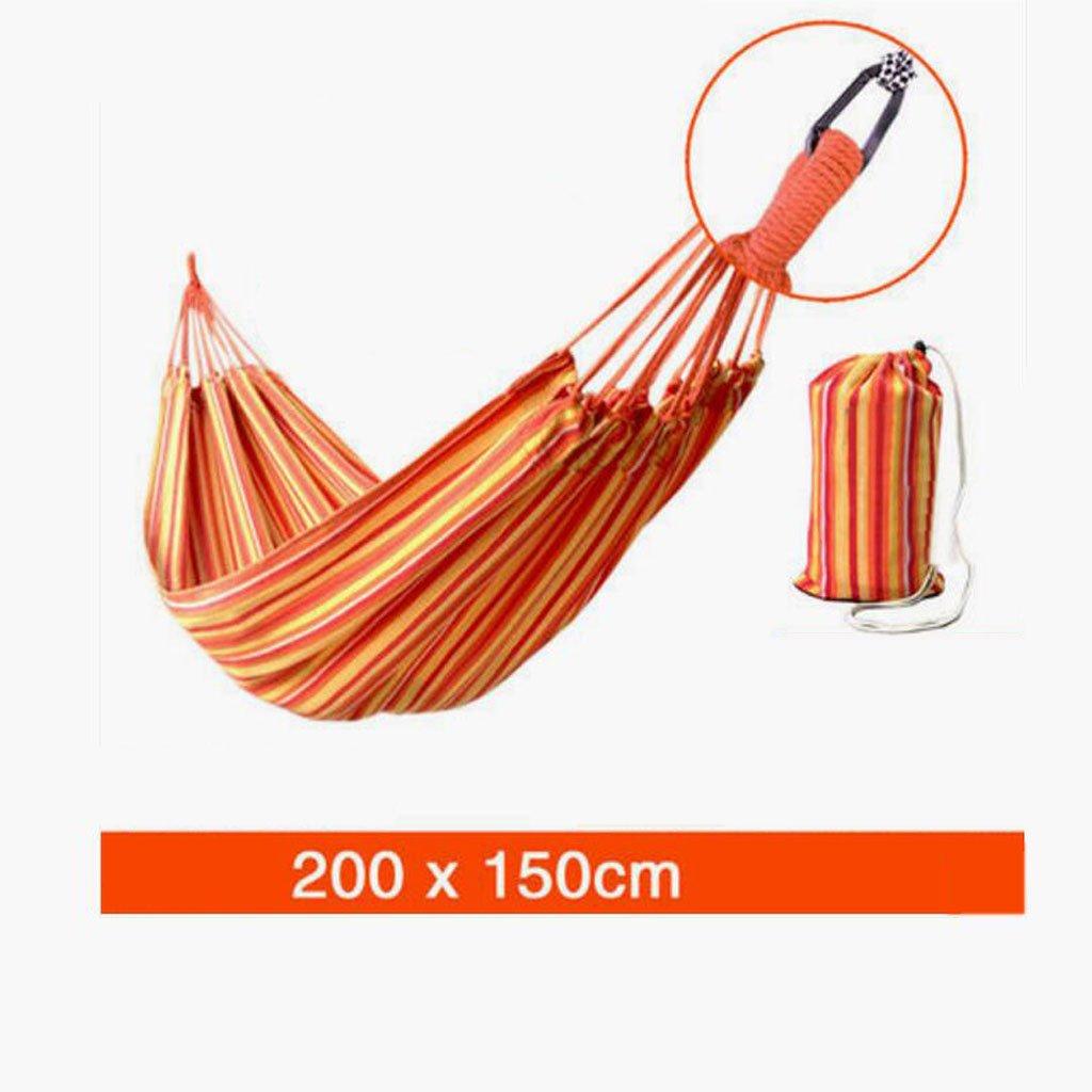 Hängematte Outdoor Hängematte Freizeitcamping Schaukel Hängematte Camping tragbare Hängematte Orange Leinwand gestreifte Hängematte (200  150cm)