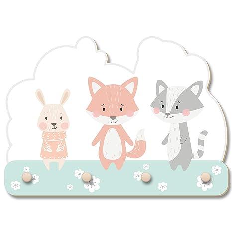 Perchero de pared con diseño de conejo, zorro y mapache para ...