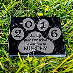 Personalized Memorial Pet Headstone Customized - You Left Your Paw Prints - 6 x 6 Black Marble Marble