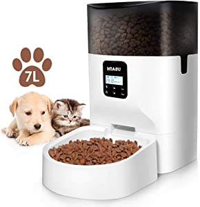 HIASU Automatic Pet Feeder Cat Dog Food Dispenser Automatic Feeder for Dog and Cat Timed Cat Feeder with Desiccant Bag for Dry Food Programmable Portion Control (7L, White)