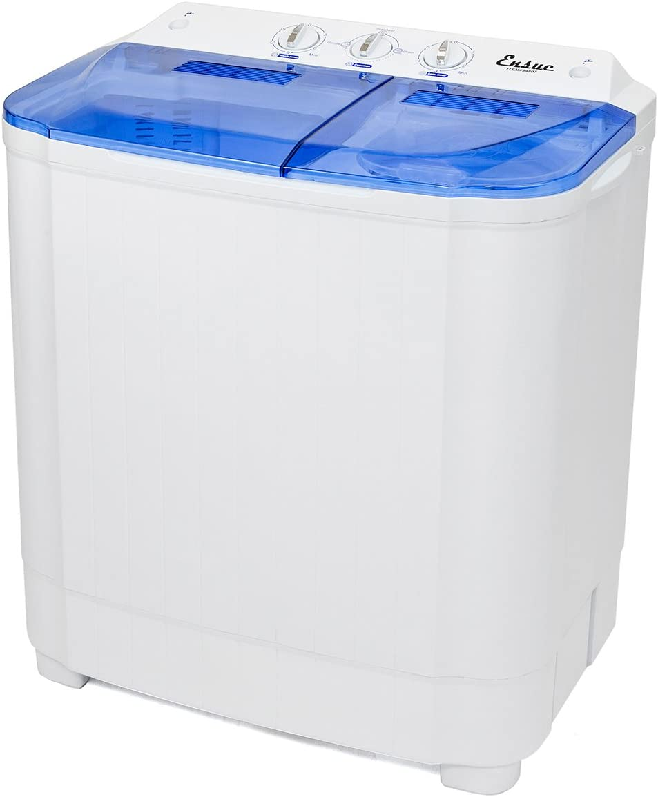 12.5 lbs 2IN1 Washer Ideal for Dorms Apartments RVs ECOTOUGE Portable Mini Cloth Twin Tub Washing Machine Compact Washer w//Wash and Spin Cycle Camping etc,Blue