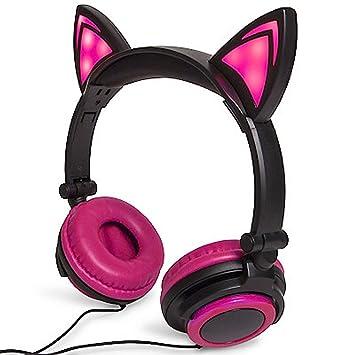 Rosa orejas de gato diadema parpadeante Glowing Cosplay Niños plegable auriculares auriculares para juegos con LED luz intermitente para iphone 6s, ...