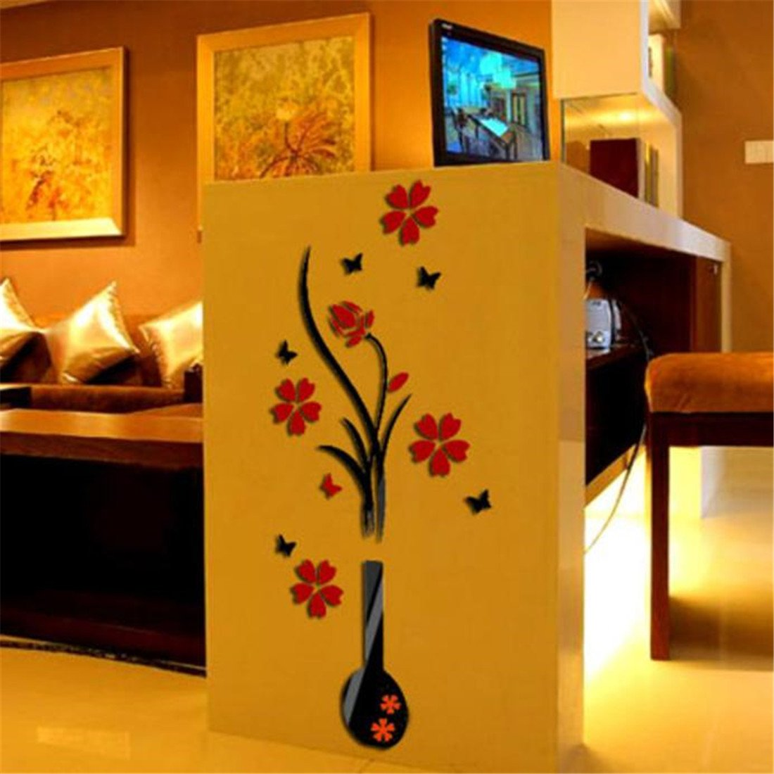Wall Stickers Brezeh Wall Paper Eye-catching DIY Vase Flower Tree Crystal Arcylic 3D Wall Stickers Decal Home Decor